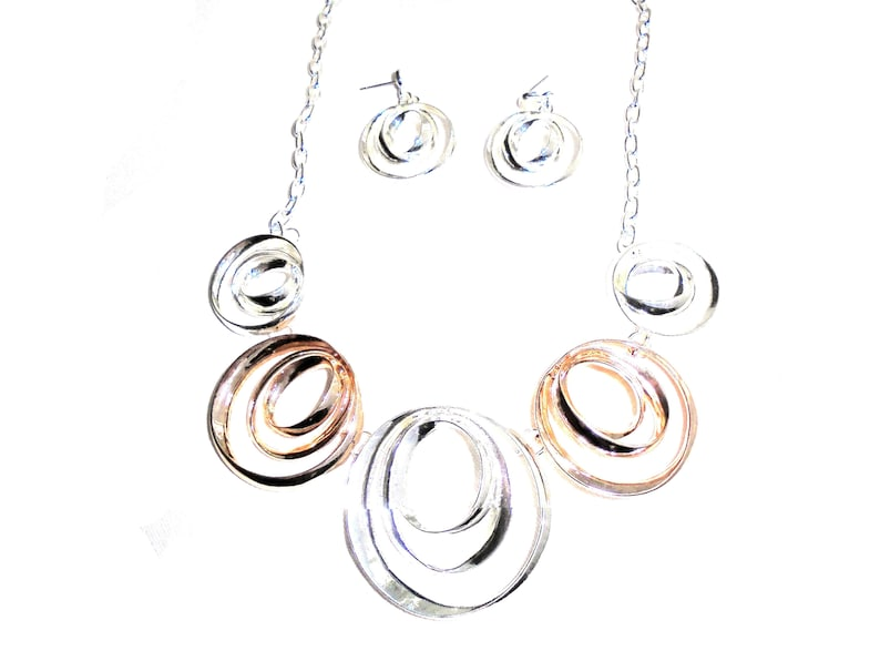 Silver And Rose Gold Hoops Rings Necklace  Earring Set