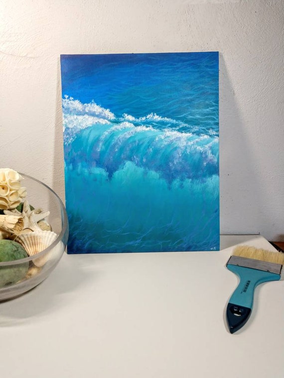 Acrylic Seascape Coastal Art Waves Ocean Beach Tropical Etsy