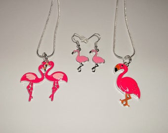 PINK FLAMINGO Love FLAMINGOS Large Charm Necklace Or Earrings