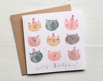 Cat birthday card - happy birthday - greeting card