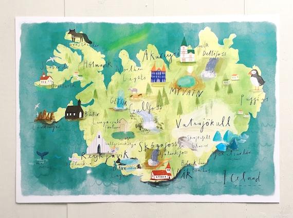 Karte Island Drucken.Illustrated Karte Von Island A4 A3 A2 Drucken Aquarell Druck Kunst Home Decor Island Geschenk Illustrierte Karte Home Decor