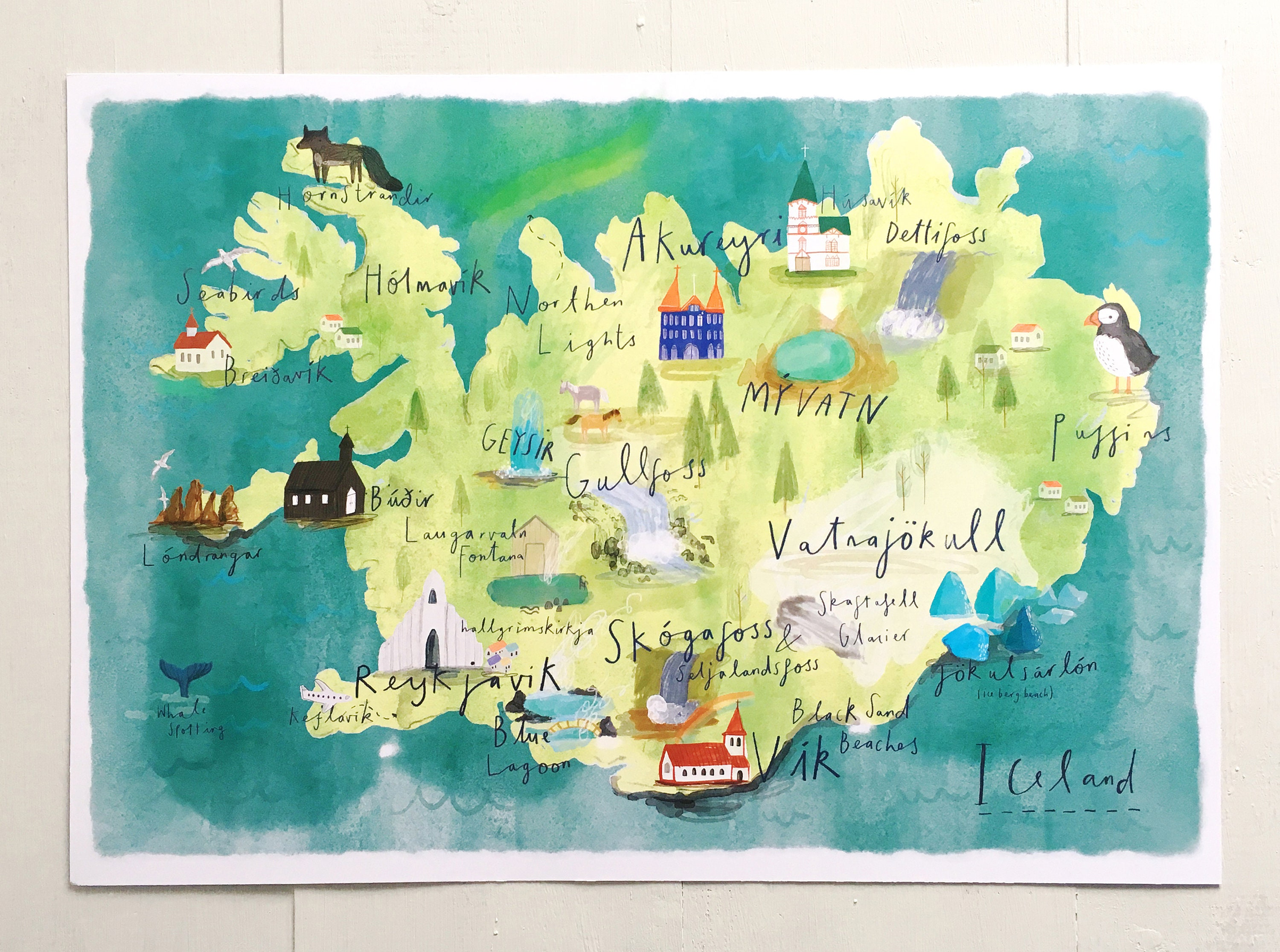 It is a picture of Unforgettable Printable Iceland Map