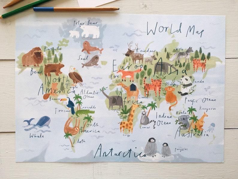 Kinder Tier Weltkarte / Kinder Weltkarte / A3/A2/A1 / World Ma | Etsy