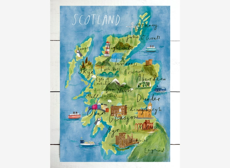 picture regarding Printable Map of Scotland named Illustrated map of Scotland / Scotland print / Scotland map / A5/A4/A3 / Watercolour Scotland map / Scotland wall decor / Scotland reward