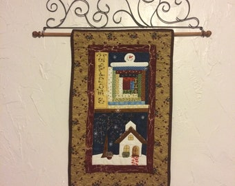 Hand quilted seasonal wall hanging set of four winter, spring, summer , and fall