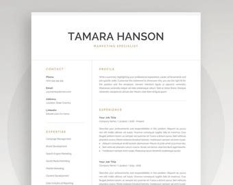Modern Resume Template | Professional CV Template for Word | Instant Download | 1 and 2 Page Resume | Mac & PC | Cover Letter | Tamara