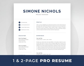 resume template 1 and 2 page resume modern cv template for word mac pages professional resume template instant download simone - Resume Templates For Mac