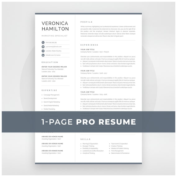 Professional Resume Template Compact 1 Page Resume Template Modern One Page Cv For Word Mac Pages Instant Download Veronica