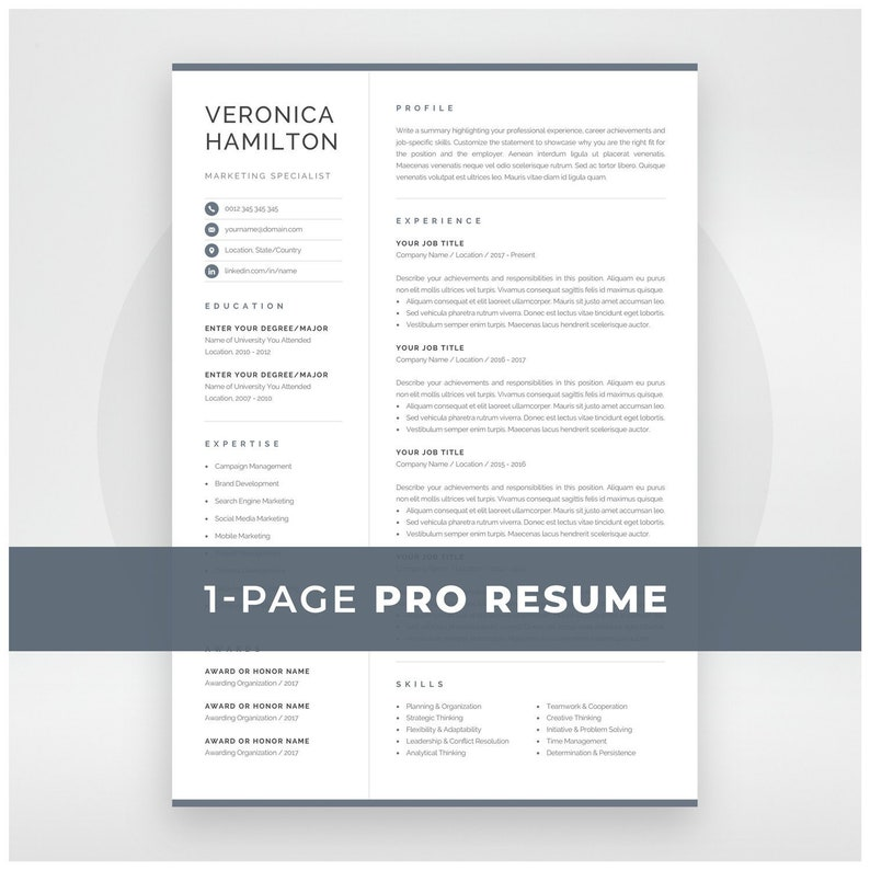 Professional Resume Template | Compact 1 Page Resume Template | Modern One  Page CV for Word & Mac Pages | Instant Download | Veronica