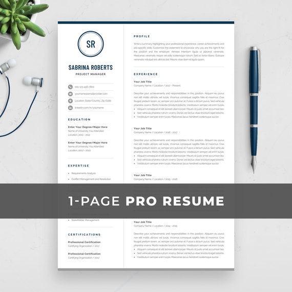 Professional 1 Page Resume Template | Modern One Page CV Design for Word |  Manager, Executive, Assistant Resume | Instant Download | Sabrina