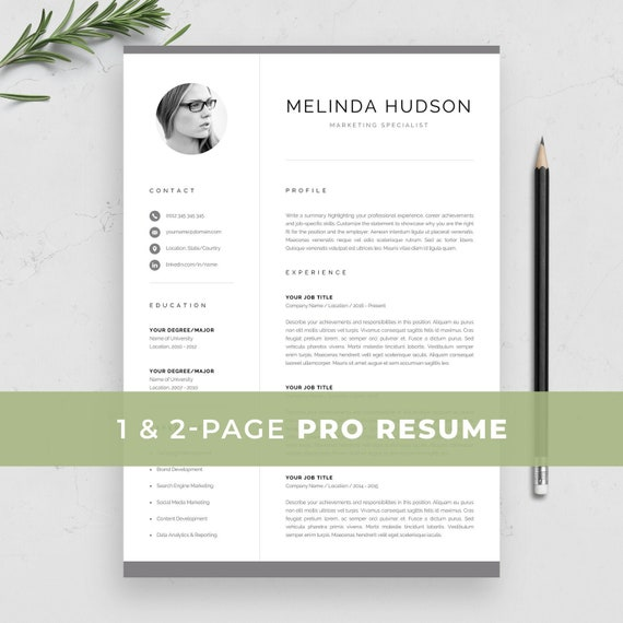 Professional Resume Template Resume With Photo 1 2 Page Resume Modern Photo Cv For Word And Mac Pages Instant Download Melinda