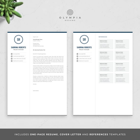 Professional 1 Page Resume Template   Modern One Page CV Design for Word    Manager, Executive, Assistant Resume   Instant Download   Sabrina