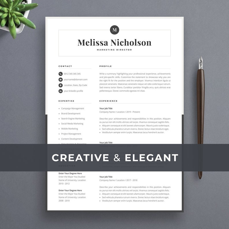 Modern Resume Template Creative CV For Word Elegant Design
