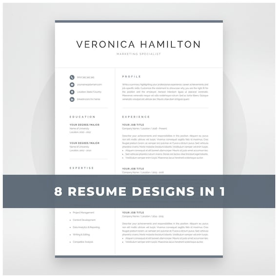 professional resume template 1 and 2 page resume modern cv etsy