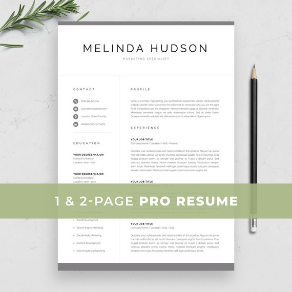 Modern Resume Template for Word & Mac Pages | Professional 1 / 2 Page CV |  Creative Marketing CV | Clean Design | Instant Download | Melinda
