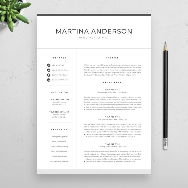 Instant Download Creative Resume Design Modern Resume Template Professional CV Template for Word Cover Letter Martina Mac /& PC