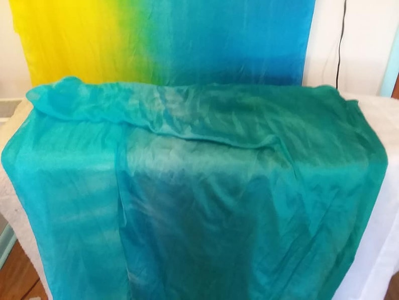 Sea foam 1: bright teal to bright turquoise bellydance silk image 0