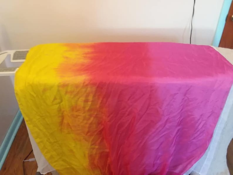 Sunrise: magenta to red to yellow bellydance silk veil image 0