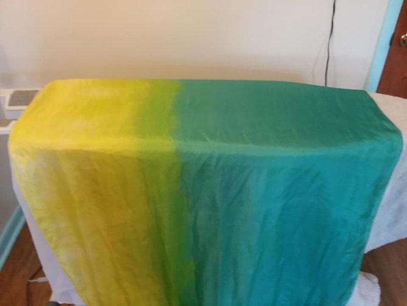 Emerald Strand: teal green yellow bellydance silk veil image 0