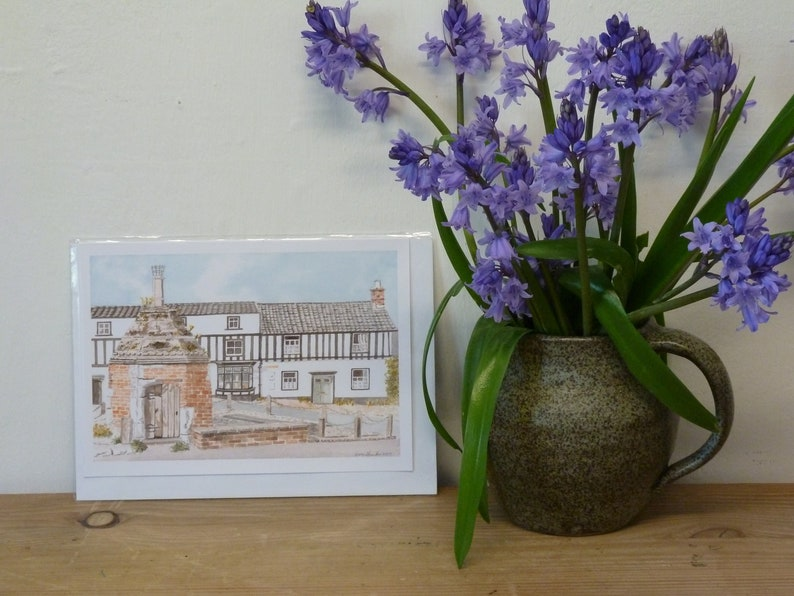 The Old Pump at Little Walsingham Norfolk Quality Giclee Prints and Cards of an Original Watercolour by Karin Hocher
