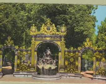 NANCY Postcard FRANCE Place Stanislos Fontaine d'Amphitrite