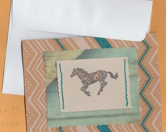 Running Horse Handmade Greeting / Note Blank Card With Envelope