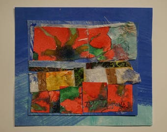 Surprise - original collage, rice paper, watercolors