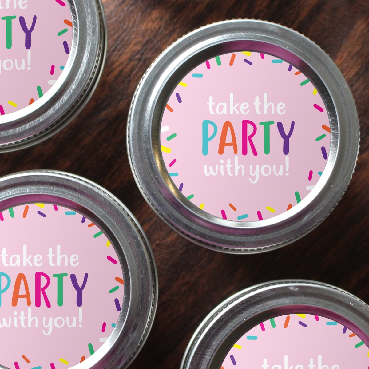 2 Round Printable Sprinkle/Confetti Favor Labels for