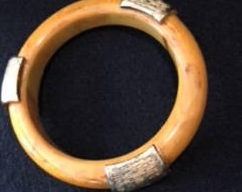 Bakelite Caramel gold trimmed Heavy Bracelet