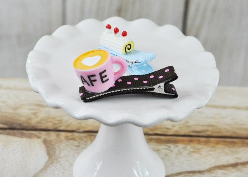 Sweet hair clip Coffee hair clip 2pc set,Baby girl hair clip Cake hair clip Toddler hair clip Handmade girl hair clip Dessert hair Clip