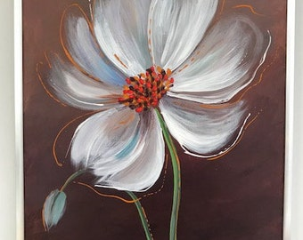 11x14 Original Acrylic Painting - Canvas Board, White Poppy