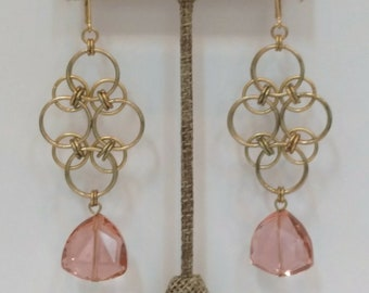 Peach Crystal Chain Maille Statement Earring