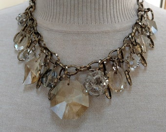 Champagne & Black Diamond Crystal Beaded Necklace with Textured Chain