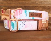 Pink floral Dog Collar Girly Dog Collar Watercolour Handmade Dog Accessory Girl Dog Collar Summer Pet Accessory Rose Gold