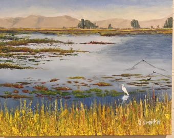 Marsh Crane landscape oil painting 14x11 framed canvas