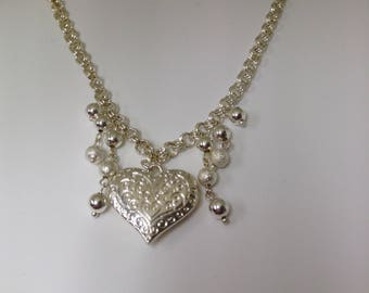 Necklace Sliver colored heart  with dangles gifts women