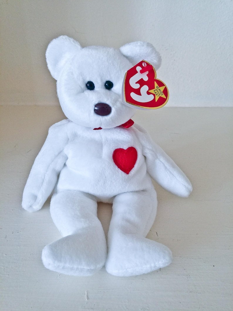 VALENTINO White Bear Red Heart ORIGINAL ty Beanie Babies  556461fa1998