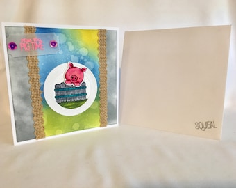Hello, Miss You Pig Time, Handmade Card