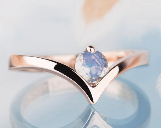 Rose Gold Moonstone Engagement Ring, Minimalist Wedding Ring, V Shape Gold Ring, Alternative engagement ring