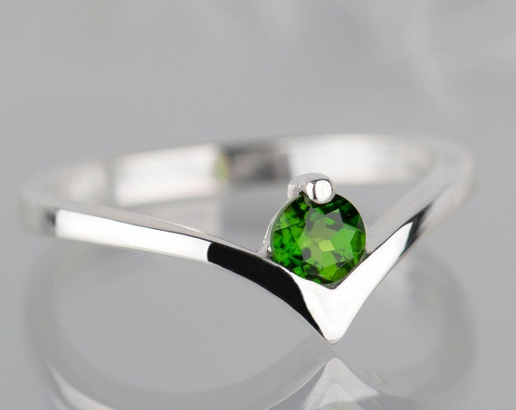 14K white gold diopside engagement ring