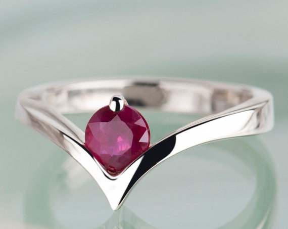 14K white gold genuine ruby ring, Chevron ring with natural ruby, Alternative engagement or anniversary ring