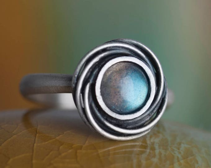 Silver Ring with Labradorite, Labradorite Ring, Jewelry Science Gift for Women, Graduation Gift for Women, Moebius Ring Sterling Silver