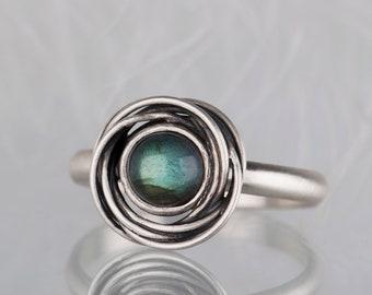 Sterling silver labradorite organic ring