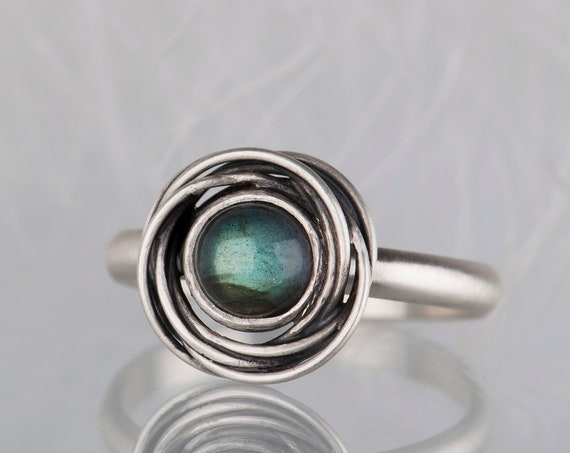 Sterling silver labradorite ring,  Science jewelry, Graduation gift for her