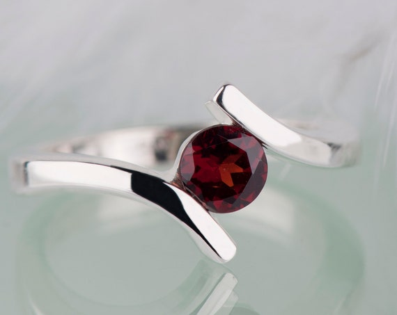 Bohemian garnet alternative engagement ring