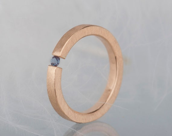 14K rose gold alexandrite tension ring