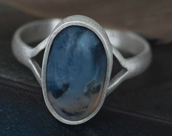 Sterling silver simple agate ring