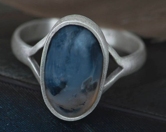 Simple agate ring, Solitaire sterling silver galaxy ring, Space jewelry gift for her idea