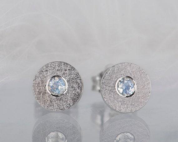 Dainty sterling silver moonstone earrings, Minimalist modern moonstone jewelry
