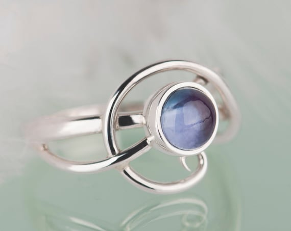 Sterling silver alexandrite ring, Unusual alexandrite engagement ring